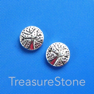 Bead, antiqued silver finished, 11mm Tree of Life. Pkg of 10