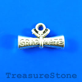 Charm/Pendant, silver-plated, 9x22mm Graduation Scroll. Pkg of 6