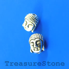 Bead, antiqued silver finished, 8x11mm Buddha Head. Pkg of 8.