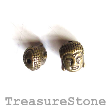 Bead, antiqued brass finished, 8x11mm Buddha Head. Pkg of 8.