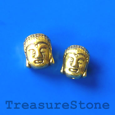 Bead, antiqued gold finished, 8x11mm Buddha Head. Pkg of 8.