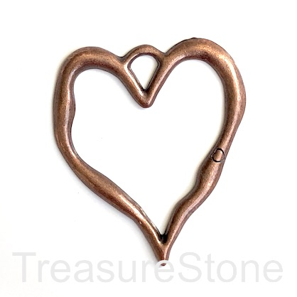 Pendant, copper-finished, 67x78mm heart. each