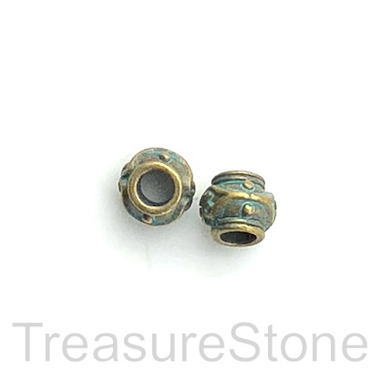 Bead, patina finished, 7x8mm drum, large hole, 3mm. Pkg of 12