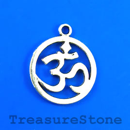 Charm/Pendant, silver-plated, 19mm Yoga Ohm/om/Aum. Pkg of 6