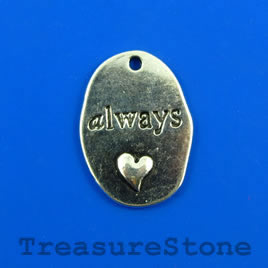 "Pendant, silver colored, 18x25mm ""always"". Pkg of 3."