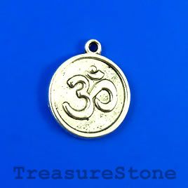 Charm/Pendant, silver-plated, 18mm Yoga Ohm/om/Aum. Pkg of 8