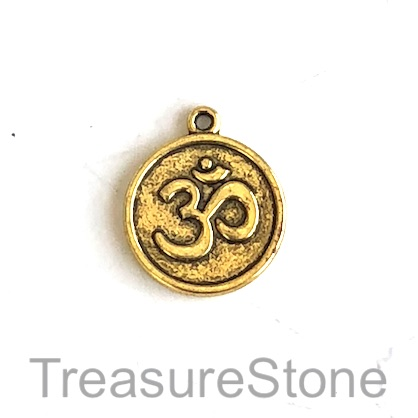 Charm/Pendant, gold-plated, 18mm Yoga Ohm/om/Aum. Pkg of 8