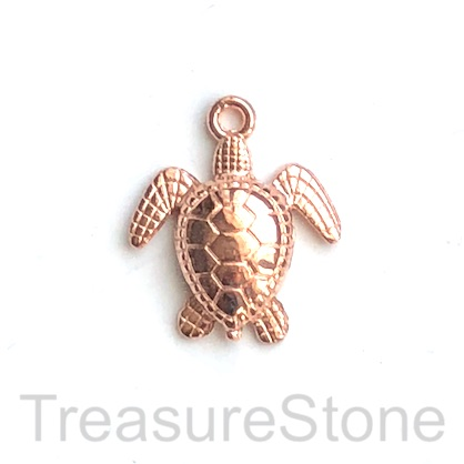 Charm, pendant, rose gold-finished, 25mm turtle. Pkg of 4.