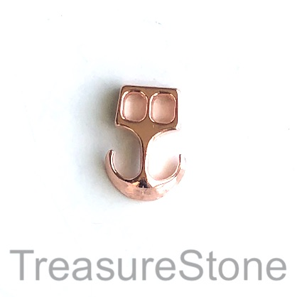 Cord end, 2, 3mm cord clasp, rose gold, 20mm. Pkg of 7.