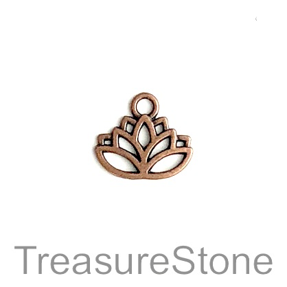 Charm, copper-colored, 17x11mm lotus flower. Pkg of 10.