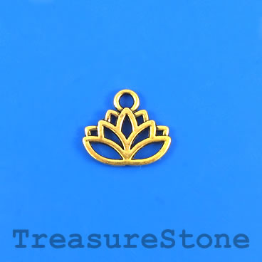 Charm, gold-colored, 17x11mm lotus flower. Pkg of 10.