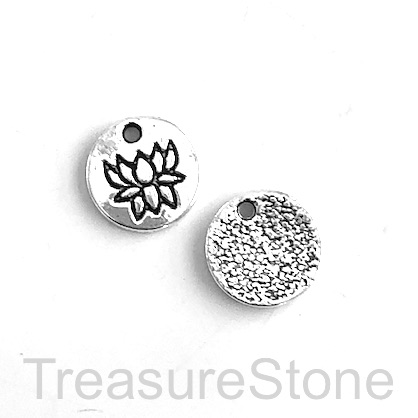 Charm, silver-colored, 12mm lotus flower. Pkg of 15.