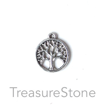Charm, antiqued silver-finished, 15mm Tree of Life. Pkg of 15.