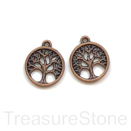 Charm, copper finished, 15mm Tree of Life. Pkg of 12.