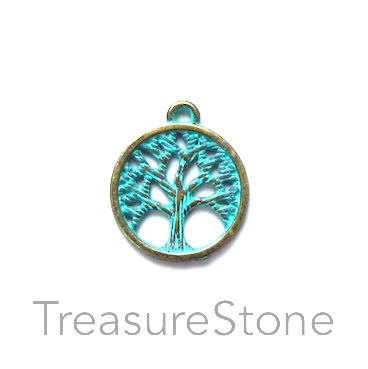 Charm, turquoise brass finished, 15mm Tree of Life. Pkg of 12.