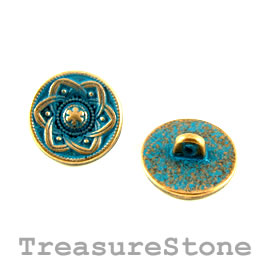 Bead, copper-turquoise, 15mm button. Pkg of 4.