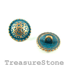Bead, copper-turquoise, 14mm button. Pkg of 4.