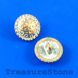 Bead, copper-white, 14mm button. Pkg of 4.