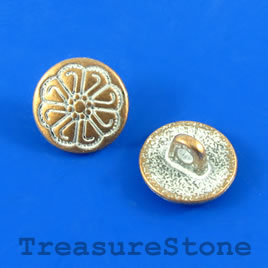 Bead, copper-white, 13mm button. Pkg of 4.