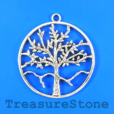 Pendant, silver-plated, 54mm Tree of Life. Each.