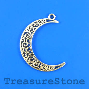 Pendant, silver-finished, 30x37mm crescent moon. Pkg of 5.