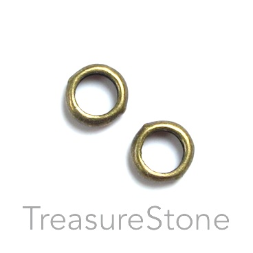 Bead, brass finished, 7mm circle. Pkg of 30