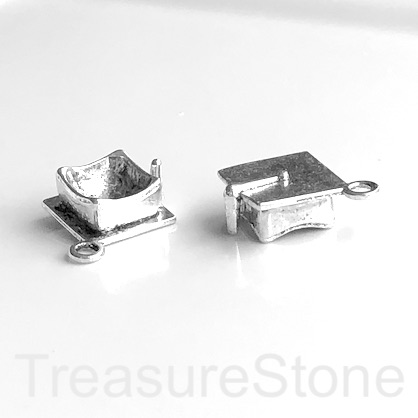 Charm/Pendant, silver-plated, 7x17mm Graduation hat. Pkg of 6