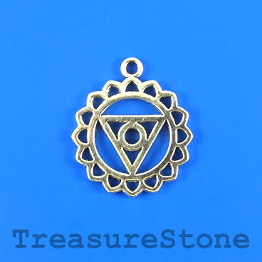 Charm/pendant, Throat Chakra, Yoga, VISHUDDHA, 25mm.Pkg of 4