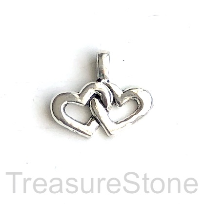 Bead, antiqued silver-finished, 11x20mm double hearts. Pkg of 6