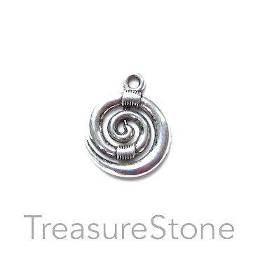 Charm/ Pendant, 15mm swirl. Pkg of 10