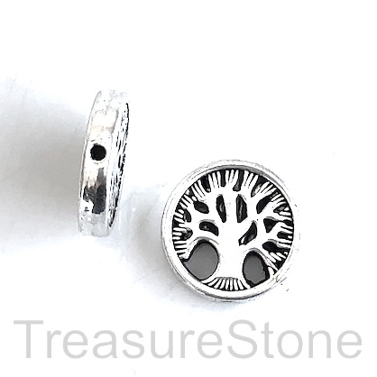 Bead, antiqued silver finished, 18mm Tree of Life. Pkg of 6.