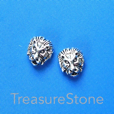 Bead, antiqued silver finished, 11x13mm lion head. Pkg of 8