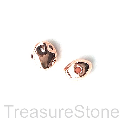 Bead, rose gold finished, 8x10x7mm nugget. Pkg of 8.