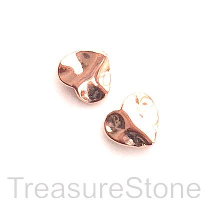 Bead, rose gold finished, 9x10mm hammered heart. Pkg of 12pcs