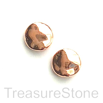 Bead, rose gold finished, 10x4mm hammered coin. Pkg of 11.