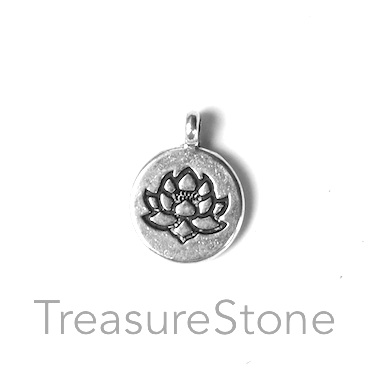 Charm, silver-colored, 14mm lotus flower. Pkg of 7.