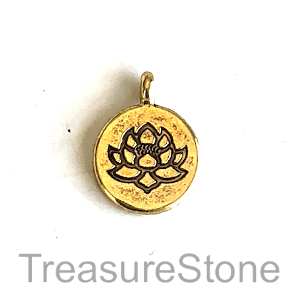 Charm, gold-colored, 14mm lotus flower. Pkg of 7.