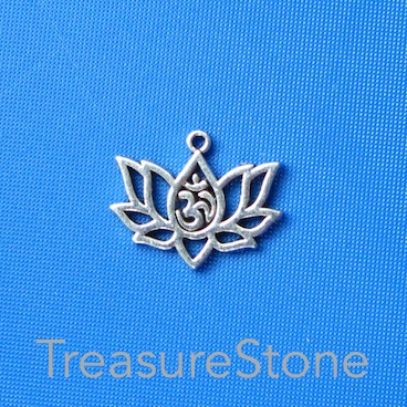 Charm/ Pendant, 13x20mm lotus flower with crown chakra. Pkg of 6