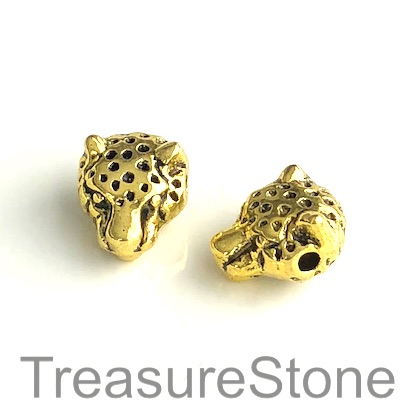 Bead, antiqued silver finished, 11x14mm cheetah head. Pkg of 7