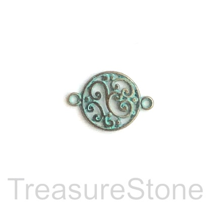 Charm/link/connector, patina-colored, 14mm. Pkg of 12.