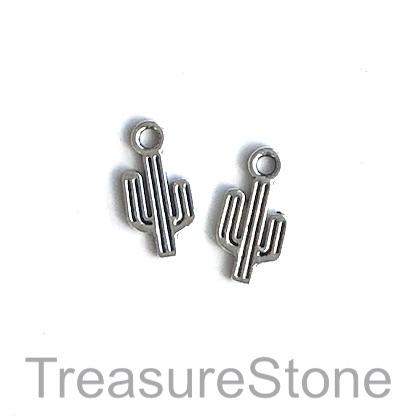 Charm, antiqued silver-finished, 8x12mm cactus. Pkg of 16.