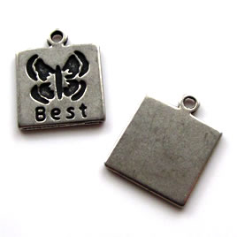 "Pendant/charm, grey-finished, 14mm ""Best"". Pkg of 6."