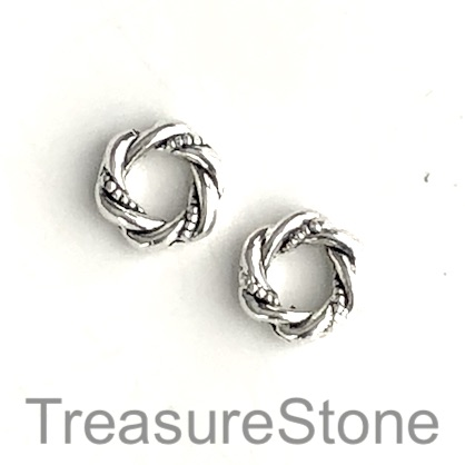 Bead frame, antiqued silver-finished, 11mm ring. Pkg of 15.