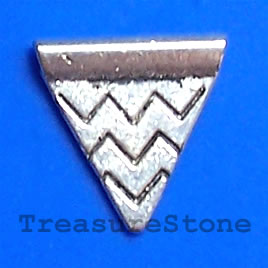 Bead, antiqued silver-finished, 13x14mm triangle. Pkg of 20.