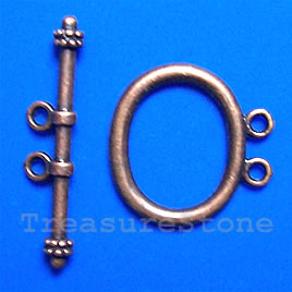 Clasp, toggle, antiqued copper-finished, 21x17mm. Pkg of 6.