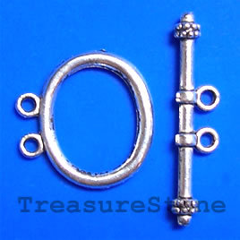 Clasp, toggle, antiqued silver-finished, 21x17. Pkg of 6.