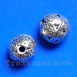 Bead, antiqued silver-finished, 9mm round. Pkg of 15.