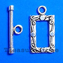Clasp, toggle, antiqued silver-finished,12x18mm. Pkg of 8.