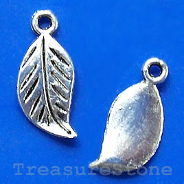 Charm/pendant, silver-plated, 8x17mm leaf. Pkg of 15.