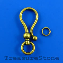 Clasp, hook-and-eye, brass-finished, 15x37mm. Pkg of 3.